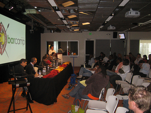 Barcamp Africa at Google HQ 2008, Jon Gosier, Guy Kawasaki, David Kobia, and Martin Fisher